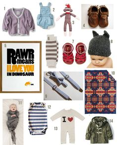 I love the Rawr poster in this grouping. Perfect for a little boys room. Someday :)