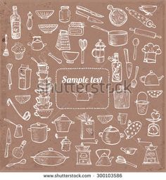 Card with kitchen utensils and place for your text. Vector illustration.