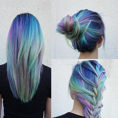 This isn't a pixie cut but these colors would look amazing with one! Next time I dye my hair I'm doing this for sure! Galaxy Hairstyle