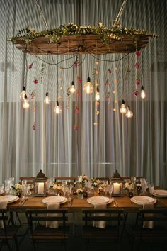 2015 Wedding Trends - Coco Wedding Venues and Katrina Otter Weddings & Events. Hanging Light Fixtures, Outdoor Light Fixtures, Hanging Lights, Window Lights, Hanging Centerpiece, Centerpieces, Light Decorations, Wedding Decorations, Table Decorations