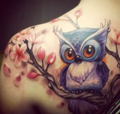 I have a feeling Chels would love this one, lol. 55 Awesome Owl Tattoos | Showcase of Art & Design