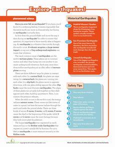 Earthquake Science Worksheet