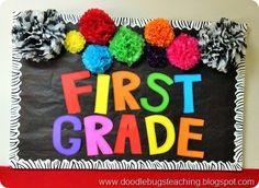 First Grade Back to School Door Decoration - Bullletin Board - Rainbow Colors, Pom Poms and zebra