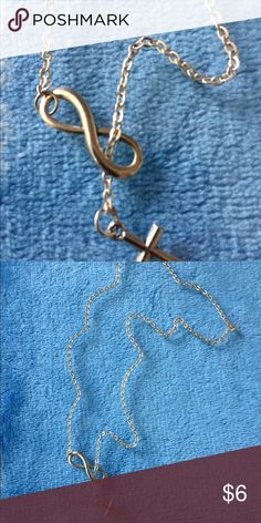 Silver Necklace 🦋Dainty silver infinity & cross necklace💜 Jewelry Necklaces