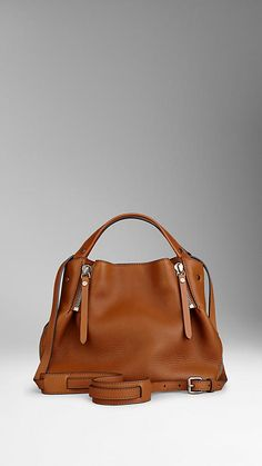 Saddle brown Small Check Detail Leather Tote Bag - Image 4