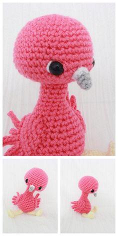 Amigurumi Flamingo Free Pattern - Amigurumi Daily Crochet Flamingo, Crochet Elephant Pattern, Crochet Amigurumi Free Patterns, Crochet Bunny, Free Crochet, Crochet Hats, Crochet Ideas, Handicraft, Dog