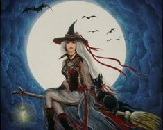 """Items similar to Witches Folk Art PRINT """"Just A Swinging"""" Witch Swinging in Cemetary Cat Byrum on Etsy Halloween Painting, Halloween Prints, Halloween Imagem, Witch Craft Works, Witch Drawing, Fantasy Demon, Beautiful Witch, Witch Cat, White Witch"""