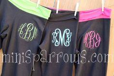Monogrammed Yoga Pants. $27.00, via Etsy.