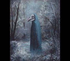 Mari Lwyd, Original Painting, Horse Skull, Skeleton, Welsh History, Winter Forest, Gray Mare, Macabre Art, Winter Solstice, Blue, Bone