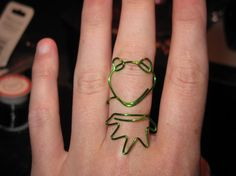Wire Wrapped Kermit The Frog MADE to ORDER Adjustable by 1ofAkinds, $6.00