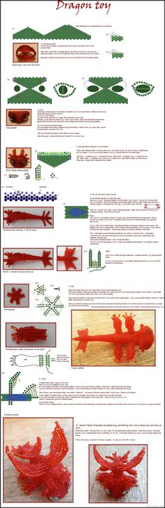 Dragon toy tutorial by Rrkra.deviantart.com on @deviantART - BEADED DRAGONS PEOPLE!  http://rrkra.deviantart.com/art/Dragon-toy-tutorial-164487208