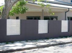 ogrodzenie nowoczesne płot betonowy ciemno szary
