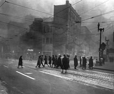 Pittsburgh before smoke control 'For more than a century, Pittsburgh was marked as a smoky city. In 1941 an effective smoke control ordinance was passed in the city of Pittsburgh regulating the burning of coal, but the onset of World War II' Pittsburgh City, University Of Pittsburgh, Pittsburgh Bridges, Pittsburgh Neighborhoods, Pittsburgh Steelers, Pennsylvania History, Pittsburg Pennsylvania, Or Noir, No Photoshop