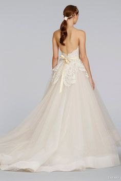 lazaro bridal wedding dresses spring 2014 champagne tulle strapless ball gown style 3413 back horsehair skirt chapel train