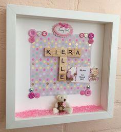New Baby Gift, Baby Girl Gift, Baby Name Frame, Baby Teddy Bear Frame, Christening Gift, Godparent's Gift