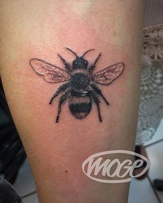 Believe it or not this bee's name is Moge  #Moge #empiretattoo #empiretattooinc #tattoo #bostontattoo www.empiretattooinc.com