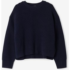 ACNE STUDIOS Java Ribbed Sweater ($440) ❤ liked on Polyvore featuring tops, sweaters, wool sweater, side zip sweater, crewneck sweater, blue sweater y blue cropped sweater