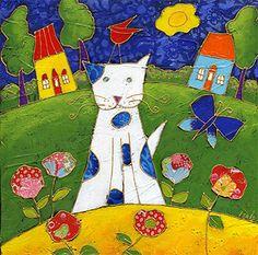 Le chat cueilleur de bonheur par Isabelle Malo •Acrylique sur toile et collage • Mixed media • Folk art  • www.isamalo.com • Artiste peintre du Québec •Art naïf