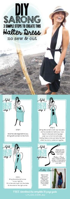 Simple steps to create this Halter Dress with a Sarong & thin belt!