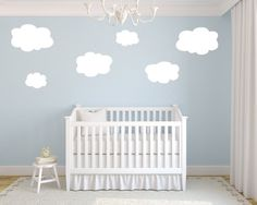 sky blue walls with clouds