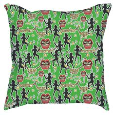 Digitally Printed Throw Pillow Cover featuring an original illustration titled 'Dancehall' from my Jamaican Classics series, a fun, stylish statement that will liven up any room.  Indoor Throw Pillow Cover made from 100% spun polyester poplin fabric. Outdoor Throw Pillow Cover made from weather...