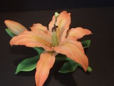 "Andrea by Sadek 8"" Orange / Peach Lily Porcelain China Flower Figurine Excellent"