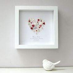 Anniversary Jewelry personalised ruby anniversary heart picture by sweet dimple 40th Wedding Anniversary, Anniversary Jewelry, Box Frame Art, Box Frames, Button Art, Button Crafts, Heart Artwork, Heart Pictures, Button Picture