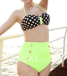 $15.46 Sexy Women's Halterneck Polka Dot Two-piece Swimsuit