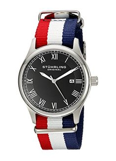 Women's Wrist Watches - Stuhrling Original Unisex 52204 Leisure Collection Gen X Liberty Date Red White and Blue Canvas Strap Watch ** You can find out more details at the link of the image. (This is an Amazon affiliate link)