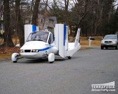 Terrafugia the Transition When many people envision the future, they may think about hovering cars – vehicles that are part car, part plane. Well, that time is now. Made by Terrafugia, the Transition allows you to soar through the air, land at the airport, and then drive home in the same vehicle.