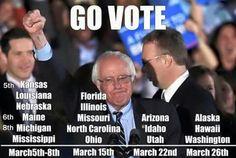 Vote Bernie Sanders for President! #BernieSanders2016  For more information on #BernieSanders  -->   FeelTheBern.org berniesanders.com sanders.senate.gov ilikeberniebut.com Are you in a closed primary election state? Change your party registration to democrat to be able to vote for #Bernie in the primary elections! Voteforbernie.org http://www.fairvote.org/primary_voting_at_age_17 #FeelTheBern #WeAreBernie #NotMeUs @BernieSanders