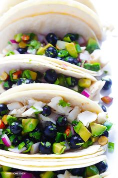 Fish Tacos with Blueberry-Almond Salsa -- perfectly sweet and savory, naturally gluten-free, and SO GOOD! | gimmesomeoven.com