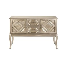 Geometric style lines and a metallic finish make the DecMode 48 in. Wood Console Cabinet a chic addition to your home. This console table features beveled. Wooden Console, Console Cabinet, Buffet Cabinet, Sideboard, Console Tables, Entryway Console, Bar Furniture, Painted Furniture, Distressed Furniture