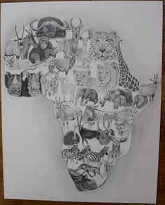 African animal fine art print. Featuring elephant, giraffe, zebra, hippo, rhino, lion, leopard, and other African wildlife. Perfect gift for the Africa or wildlife enthusiast. Follow link for purchasing information.