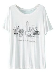 Shop White Cute Cacuts Print Short Sleeve T-shirt from choies.com .Free shipping Worldwide.$9.9