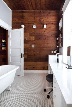 1920's floor tile | Wood paneled wall, small hexagon tile floor, with white accents and ...