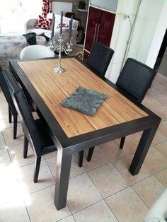 Discover thousands of images about table bois mètal design industriel sur mesure mobilier industriel Welded Furniture, Iron Furniture, Steel Furniture, Furniture Makeover, Home Furniture, Furniture Design, Industrial Furniture, Bedroom Furniture, Victorian Furniture