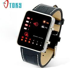 Novel design Digital Red LED Sport Wrist Watch Binary Wristwatch PU Leather Women Mens P14 Dropshipping #>=#>=#>=#>=#> Click on the pin to check out discount price, color, size, shipping, etc. Save and like it!