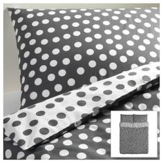 """STENKLÖVER Duvet cover and pillowcase(s) - white/gray, Full/Queen (Double/Queen) - IKEA - I love this one, but I understand it might be a bit """"much"""" :) 35.00"""