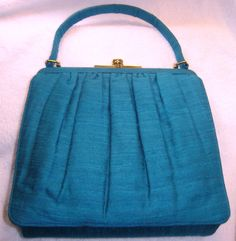 TURQUOISE PURSE 1950s 1960s NUBBY Silk