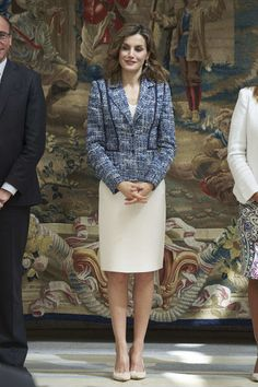 Queen Letizia of Spain Pumps - Queen Letizia of Spain teamed nude Magrit pumps with a recycled tweed jacket and a white pencil skirt for the Reina Letizia Awards.
