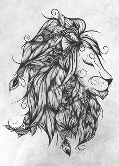 Poetic Lion Turquoise Art Print by loujah Leo Tattoos, Future Tattoos, Body Art Tattoos, Tribal Tattoos, Tatoos, Henna Tattoos, Flower Tattoos, Mandala Tattoo, Arm Tattoo
