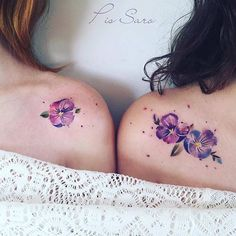 Watercolor Flower Couple Tattoo For Friends