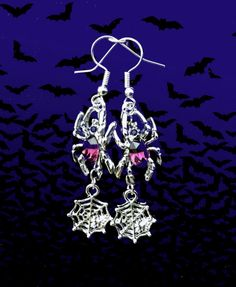 Buy 1 Get 1 Offpurple Crystal Halloween Spider Web Dangle Silver Earrings Halloween Earrings, Halloween Jewelry, Halloween Gifts, Halloween Spider, Spider Earrings, Dangle Earrings, Spider Costume, Witch Jewelry, Purple Earrings