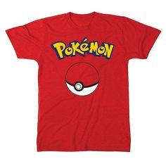 Men's Pokemon Ball Tee, Size: Medium, Red
