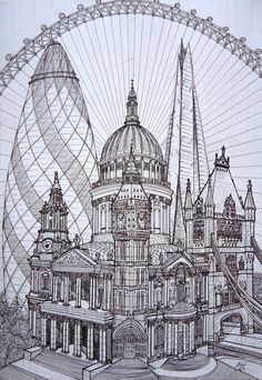 Simply British by DareToWatch on DeviantArt - London Cucumber St. Paul's Big Ben Tower of London The Shard - Gherkin London, London Drawing, London Sketch, Architecture Drawing Art, London Architecture, Poses References, Perspective Drawing, London Skyline, Travel Drawing