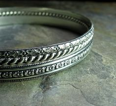 Bangle Bracelet Set sterling silver pattern wire stacking - English Garden. $72.00, via Etsy.