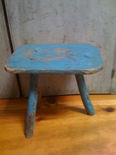 19Th C Milk Stool in original Blue Paint.