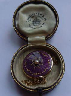 Superb Antique Cased Gold Enamel Pearl Engraved Locket Necklace | eBay