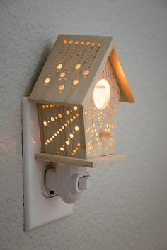 Mini Starburst Wall Plug Birdhouse Night Light by LightingBySara on Etsy